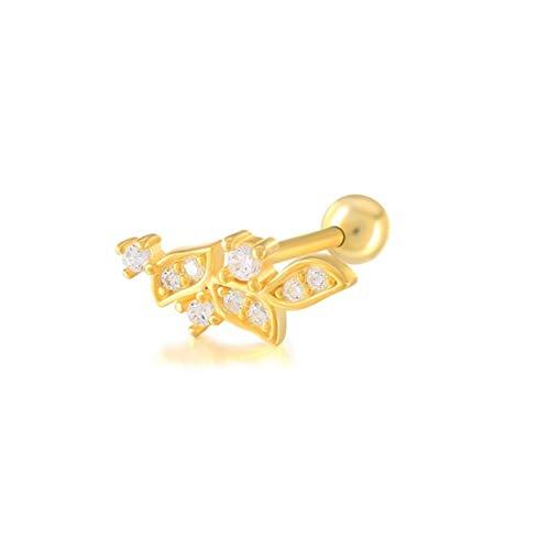 EH - 2 pendientes de cartílago de plata de ley 925 con circonita brillante para mujer, hebilla para lóbulo de la oreja yc613 (color de la gema: 11 color dorado, color metal: 2 unidades)