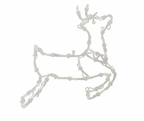 * Leuchtendes Fensterbild mit 35 LEDs | Fünf Motive: Engel Baum Rentier Stern Sternschnuppe | Netzanschluss + Saugnapf | Fensterdeko Weihnachtsdeko Weihnachtsleuchte (Rentier)