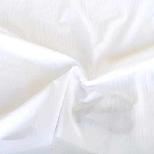 TOLKO Baumwollstoffe Meterware   Sommer Batist aus fein gekämmter Baumwolle mit Polyester   dünner Nessel-Stoff als Kleiderstoff und Gardinenstoff zum Nähen Dekorieren Basteln 145cm Breit (Weiß)