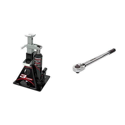 Powerbuilt Alltrade 640912 Black 3 Ton, All-in-One Bottle Jack & TEKTON 1/2 Inch Drive Click Torque Wrench (10-150 ft.-lb.) | 24335