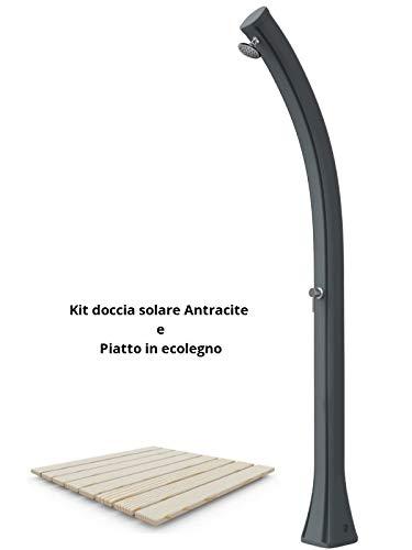 ARKEMA DESIGN - prodotto made in Italy Bausatz Solardusche anthrazit mit Ablage in ecolegno Arkema