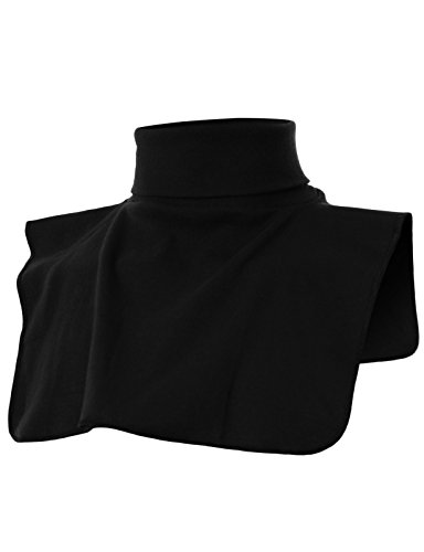 OHOO Mens Ribbed Cotton Blend Fake Turtleneck Dickies Collar Mock Keep Warm/DCT021-BLACK-M