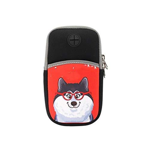 Bolsa de deporte con diseño de dibujos animados para teléfono móvil, para correr, unisex, universal, para brazo, para fitness, muñeca y deportes (color: A, tamaño: 16 x 8,5 cm)
