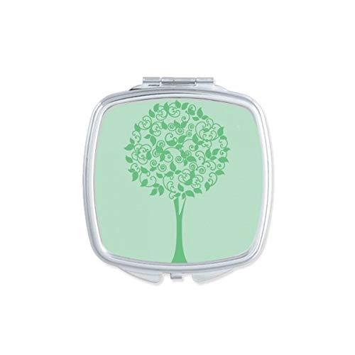 DIYthinker Vert Feuilles Rondes Arbre Fleur Miroir carré Maquillage Compact Portable Mignon Miroirs de Poche à la Main Cadeau Multicolore