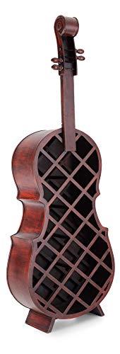 Stagecaptain Stradivino Weinregal für 21 Flaschen - Weinständer aus Holz in Wurzelholz-Optik - Handgemachtes Cello Flaschenregal - Flaschenständer in Höhe 135 cm - Vintage Weinflaschenhalter