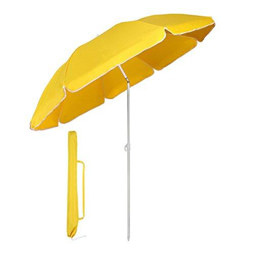Sekey® Ombrellone Ø 160 cm Tondo Ombrello Parasole da Esterno da Giardino da Spiaggia Giallo Protezione Solare UV20+