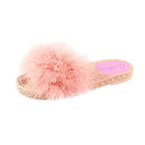 Plüsch Mode Damen Hausschuhe, Amlaiworld Flauschige Herbst Frühling Classic Slipper Freizeit Vintage Schuhe Geschäft flach Sandalen Mokassins