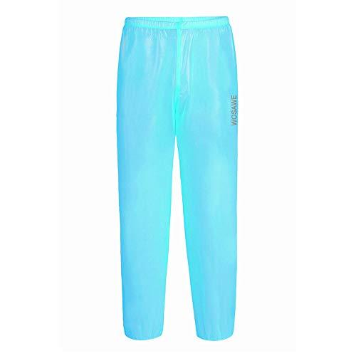 WOSAWE - Chubasquero Impermeable para Ciclismo con Capucha y Pantalones de Lluvia para Camping, Senderismo, Carreras, Hombre, Color Pantalón Azul, tamaño XX-Large