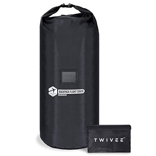 TWIVEE - 2 in 1 Rucksack Schutzhülle und Regenschutz - Flight Cover für Backpack - Flugzeug - Überzug in Flexibler Größe - 60 bis 110 Liter Volumen einstellbar - Ideal für Reiserucksack