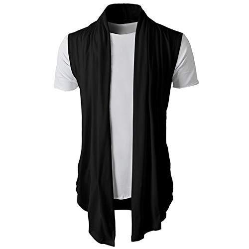 Camiseta Hombre Estilo Hip Hop Irregular Holgada Hombre Shirt Cárdigan Sin Mangas Cómodo Color Único Moderna Moda Tendencia Hombre Streetwear A-Black L