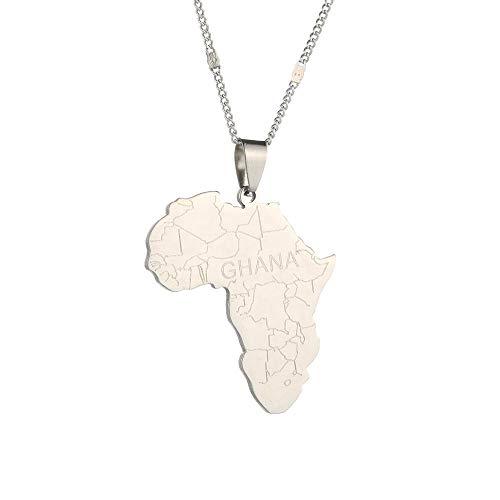Mapa de África con ghana collares pendientes joyas para mujeres hombres África y clima actual o lea la última cadena de joyas con dijes: placa de plata