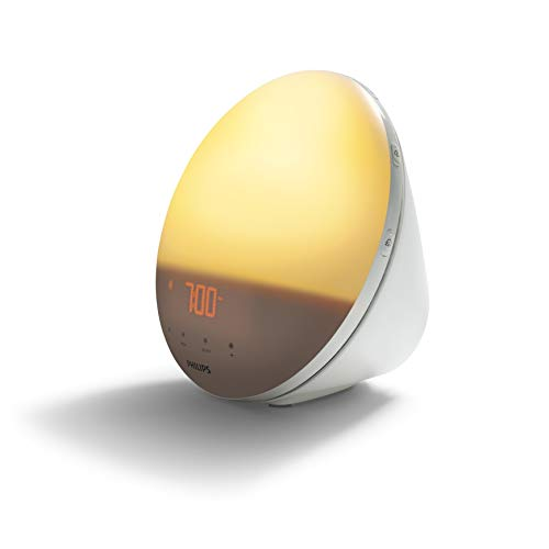 Philips Wake-up Light HF3531/01 Despertador de luz, 7 sonidos naturales, radio FM, alarma, con cargador móvil, 16.5 W, Blanco