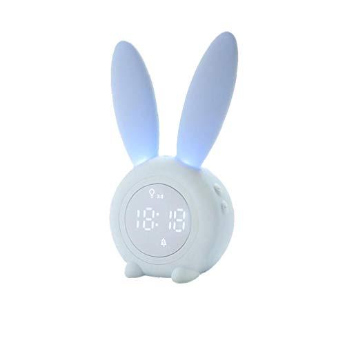 shentaotao Silenciar la Historieta del Conejo Despertador Wake Forma hasta el Despertador Ligero Estudiante sueño Elegante LED Azul del pequeño Despertador