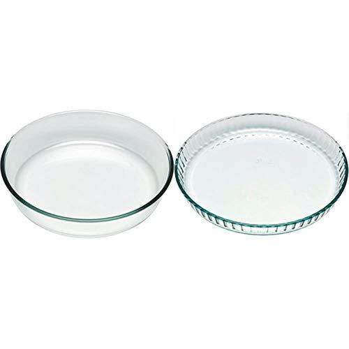 Pyrex Bake&EnjoY Tortiera in vetro borosilicato Ø26 x 5,9 cm & Bake&EnjoY Stampo crostata in vetro borosilicato 28x3,6cm