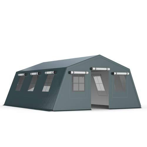 INTEROUGE Tenda Isolati Due Lati Camping Shelter Stile Militare5x6.24m PVC 750g/m² Adatto ai Professionisti necessità Quotidiane