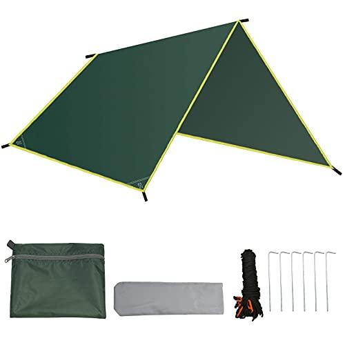 gracosy Lona de Camping Toldo Camping Impermeable Lona de Playa Portátil 240×220cm 420D Tela Oxford Anti-UV Anti-Lluvia Duradero con Clavos de Aluminio y Cuerda