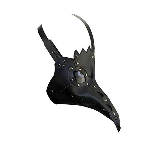 DM201605 Pestdoktor-Maske Vogel Lange Nase Schnabel Kunstleder Steampunk Halloween-Kostüm Schwarz, Schwarz Stil 2, Standard