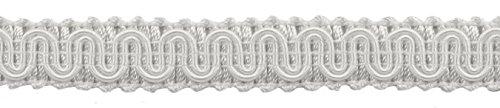 DÉCOPRO 11 Meters of 16mm Basic Trim Decorative Gimp Braid, Style# 0058SG Color: White - A1, (36 Ft / 12 Yards)