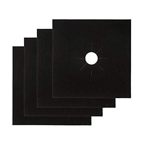 Gaskookplaat beschermer, 4 stks/set Zwart & Zilver Herbruikbare Folie Gaskookplaat Kookplaat Beschermer Liner Cover voor het schoonmaken van keukengereedschap Keukenaccessoires, zwart 4 stuks