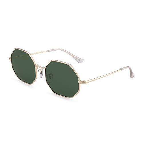 GLINDAR Occhiali da sole polarizzati quadrati per uomo donna con lenti ottagonali UV400 (montatura dorata/lenti verdi)