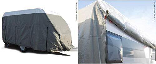 Reimo Tent Technology Wohnwagen Schutzhülle Premium, Länge 590-630cm, für Wohnwagen-Breite bis 250cm, Dachschutzplane (9329928526)