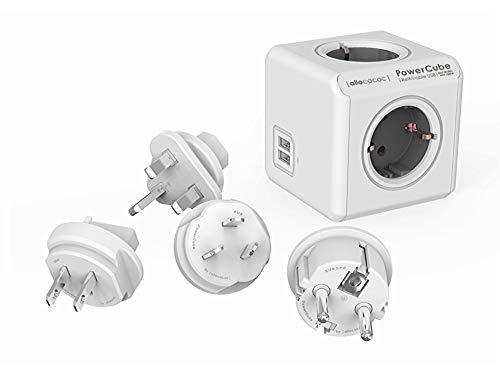 Travel-Cube ReWirable DuoUSB, Power-Würfel für 4 Stecker und 2 USB Ports (2,1 A), Mehrfach-Steckdose mit Reise-Adapter für DE/FR, UK USA AUS, ohne Kabel, grau-weiß