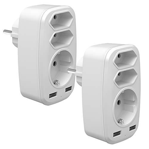 USB Steckdose Adapter, 2 St 5 in 1 Multi EU Steckdosenadapter mit 3 Fach Mehrfachsteckdose (4000W)-Doppel Eurostecker + 1 Schuko und 2 USB Anschluss (2.4A) für iPhone, iPad, Laptop, Weiß (2 Pack)