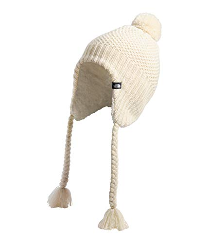 The North Face Women's Purrl Stitch Earflap Beanie, Bleached Sand/Vintage White, OS
