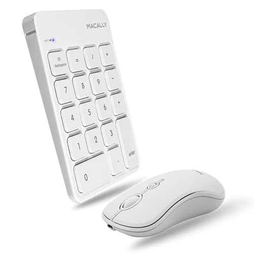 Macally Bluetooth Number Pad and Mouse for Laptop Combo - Rechargeable Wireless Numeric Keypad for Laptop with Quiet Slim 10 Key for Mac and Windows and Portable Laptop Mouse Set