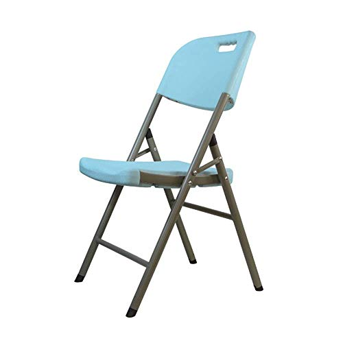 YLCJ Klapstoel, bureaustoel, kunststof, draagbaar, met rugleuning, wit Blauw
