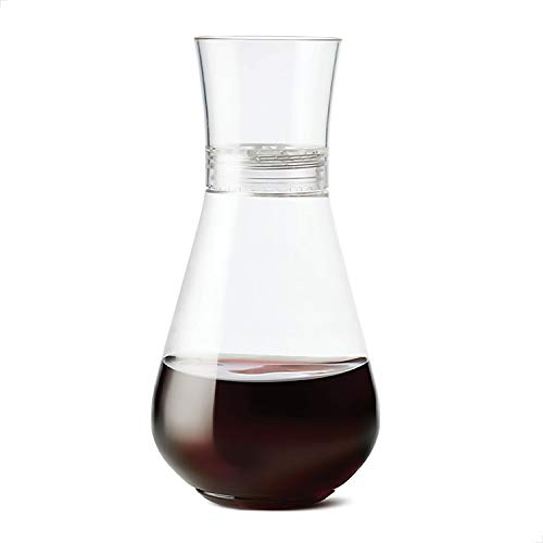 TOSSWARE 28oz plus SET OF 1, Recyclable, Unbreakable & Crystal Clear Plastic Aerating Decanters