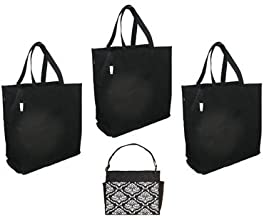Esse Premium Reusable Folding Grocery Bag Set with Tote (3 grocery bags with tote, bonus bag, Damask)