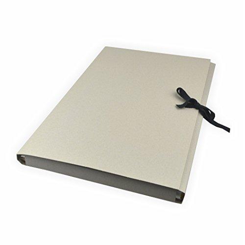 5 Stück Sammelmappen aus Graupappe mit Band, DIN A3 ohne Druck Karton grau mit 3 Klappen bis zu ca. 200 Blatt a 80g/m²