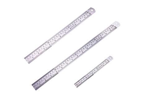 EDATOFLY Kit de regla de acero inoxidable con mesa de conversión y agujero para colgar, kit de regla de medición que incluye regla de 40,6 cm, 30,5 cm y 15,2 cm