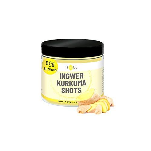 INGWER SHOT zum Anrühren• fruchtig scharf • 80 Shots mit Ingwer & Kurkuma Pulver, Orange, Vitamin C & Zink • Ingwer Kurkuma Shot ohne Zucker Zusatz • in Deutschland abgefüllt