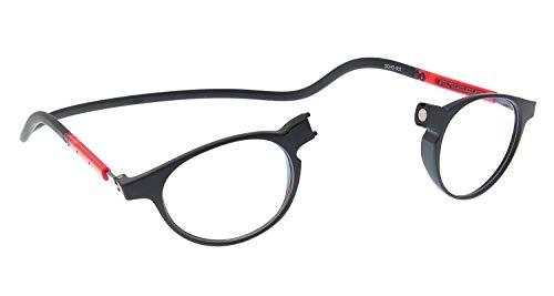 SPORTS WORLD VISIONs magnetische Lesebrille im Slastic Clic-Stil (schwarz und rot) Soho 002 Robuste runde Unisex-Brillenbrille mit weichem Gehäuse, Antireflexlinsen und verstellbaren Seiten, 1,00