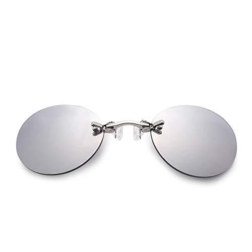 AdronQ Occhiali da Sole Fashion Nose Occhiali da Sole Mini Rotondi retrò da Uomo Matrix Occhiali da Sole Senza Montatura Uv400