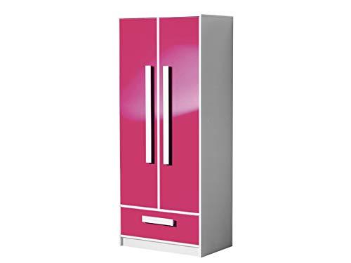 KRYSPOL Kleiderschrank GULIVER 1 Drehtürenschrank mit Kleiderstange und Schublade, Farbauswahl, Kinderzimmer (Weiß/Rosa Hochglanz)