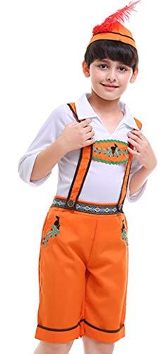 MOMBEBE COSLAND Disfraz Bvaro Alemn Nio Traje Oktoberfest Lederhose (Naranja, XL)