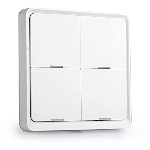 Riiai Interruptor inteligente, interruptor de pared blanco de cuatro botones, 12 modos de escena, adecuado para el hogar y la oficina