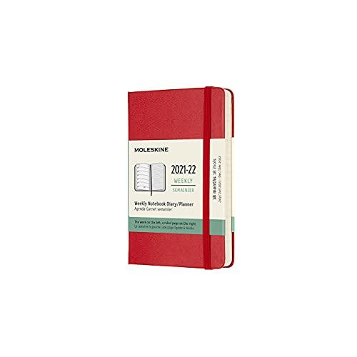 Moleskine, 18-Monats-Wochenplaner, Hardcover, Größe Pocket 9 x 14 cm, Scharlachrot