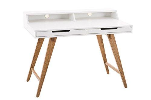 CLP Holz-Schreibtisch Eaton mit robustem Eichenholzgestell I Bürotisch mit 2 Schubladen und großer Arbeitsfläche I In verschiedenen Größen erhältlich 110 x 60 cm