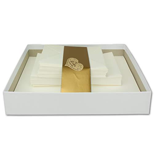 Briefkassette 120 teilig - Naturweiß - 50 Briefbogen DIN A4-50 Briefumschläge DIN C6-20 Einzelkarten DIN A6 - Briefset mit Karten