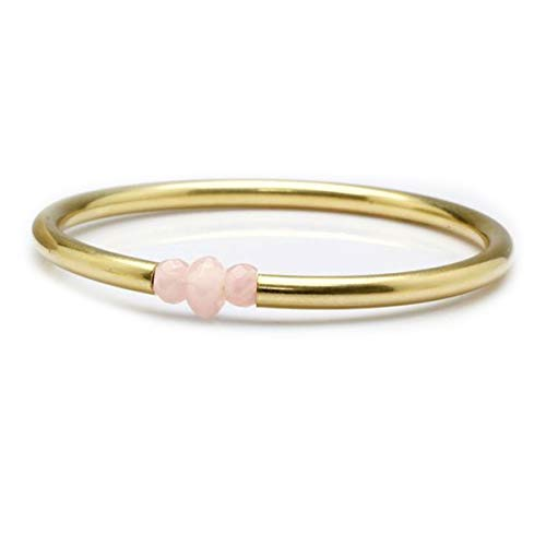 JewelryGift Rose Quartz Beads Pink Gemstone Bangle 18k Gold Plated Beautiful Bracelets for Girls and Womens 2.25