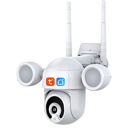 Jings Cámara de Seguridad para Exteriores, cámara IP PTZ WiFi de 3 MP, cámara Domo Nocturna de Color IR Tuya, cámara reflectora de Audio bidireccional, detección Humana, Resistente al Agua