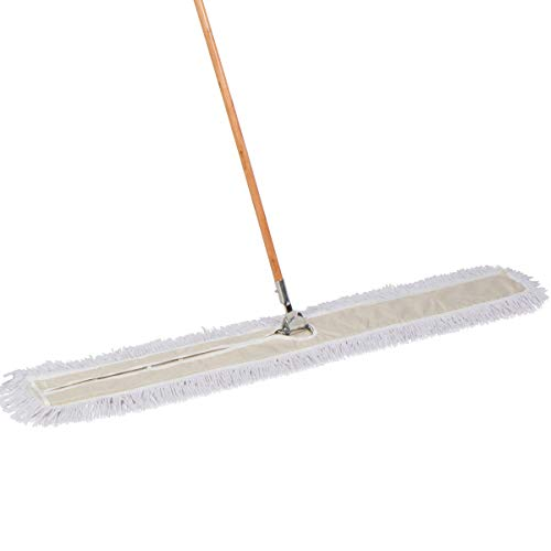 Tidy Tools 60 Inch Industrial Strength Cotton Dust Mop with Wood Handle and Frame. 60'' X 5'' Wide Mop Head with Cut Ends