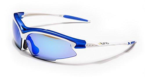 Luna Sky esecuzione ciclismo occhiali da sole con custodia rigida protettiva (lenti Revo blu, bianco/blu Frame) con lenti intercambiabili grigi