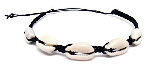 Cowrie Hawaiian Natural Shell Bead Bracelet Genuine Stretch, Red, Size No Size