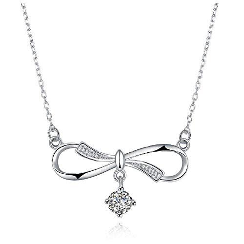 N/H Collar de plata925 Plata de Ley Mujer Collares con Colgantes Diamante Cristal Collar con Lazo Regalo para Damas Joyas Chica