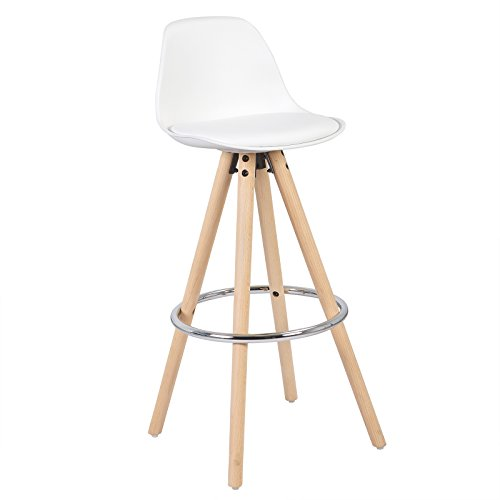 WOLTU® BH45ws-1 1 x Barhocker 1 Stück Barstuhl aus Kunststoff Holzgestell mit Lehne + Fußstütze Design Stuhl Küchenstuhl optimal Komfort Weiß
